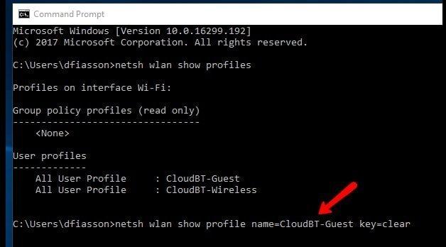 Como ver la clave de una red Wifi conocida desde la linea de comandos en Windows 10