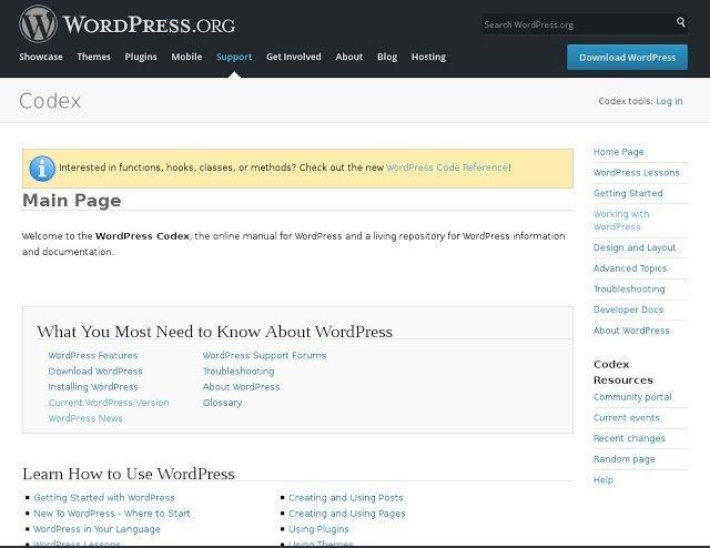 Las 2 fuentes principales de documentación en linea de WordPress
