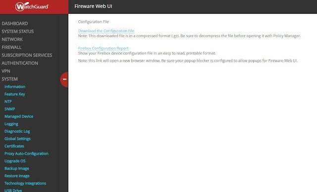 Como hacer un respaldo de la configuración de un firewall Watchguard desde Fireware UI