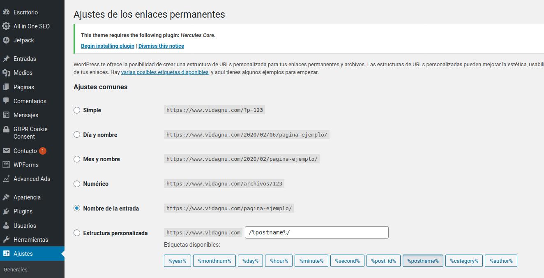 Como habilitar Permalinks en WordPress