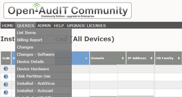 Como obetener un listado de equipos con Autocad desde OpenAudit