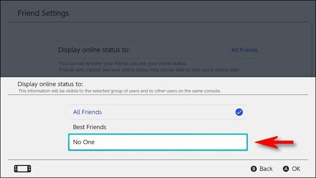 No mostrar status a amigos en Nintenfo Switch